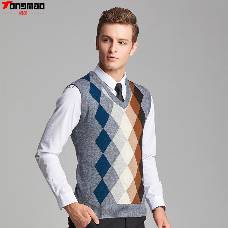 Domple Mens V-Neck Business Pullover Sleeveless Wool Knit Sweater Vest