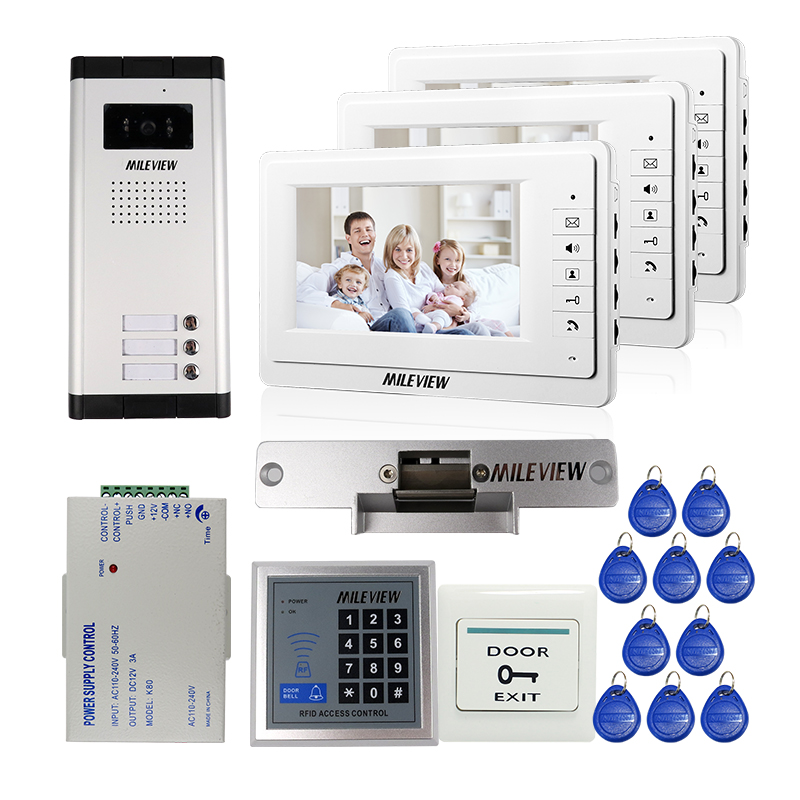 7 Video Intercom Doorbell Apartment Video Door Phone + 3 Monitors IR Camera for 3 Family + RFID Access System FREE SHIPPING free shipping new 7 video door phone intercom system 2 white monitors 1 outdoor bell camera for 2 household apartment family