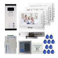 FREE SHIPPING 7 Video Intercom Apartment Door Phone 3 White Monitors 700TVL Outdoor Camera For 3