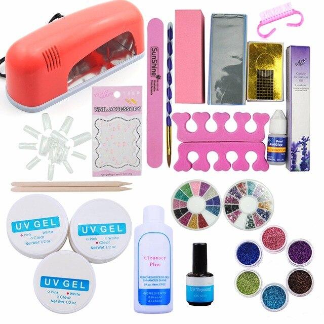 UV Gel Manicure Set Nail Art Kit 9W Nail Dryer Gel Cleanser Plus ...