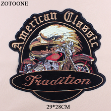 ZOTOONE Embroidered Punk Rock Motorcycle Patch Applications For Clothing Iron On Large Eagle Letter Bike Patches Clothes