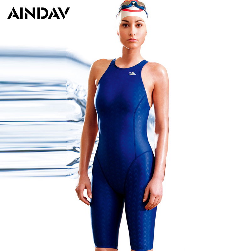 Sports One Piece Swimsuit Ladies Shark Skin Like Arena Swimwear Women Three Quarter Shorts Bathing Suits Sport Bodysuit Yingfa(China)
