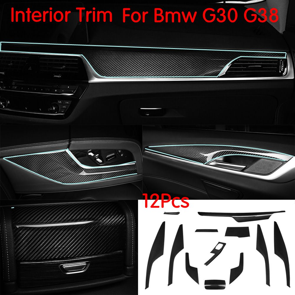 Carbon Fiber Car Styling Interior Trim Dashboard CD Panel trim cover for BMW 5 series G30 G38 520i Central Control Cover 12Pcs