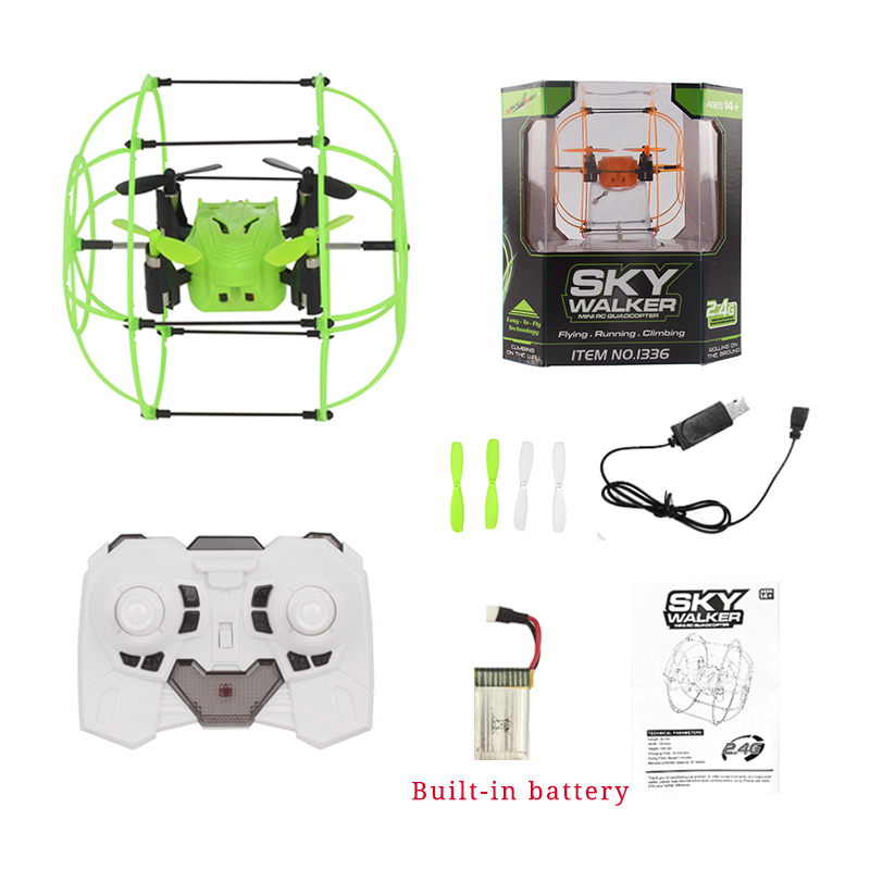 HelicMax RC Drone Ball Toy Quadcopter Mini Drone Sky Walker 1336 2.4GHz 4CH Fly Ball 3D Flip Roller Drone RC Helicopter Toys