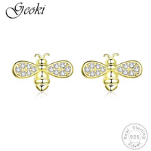 Geoki 925 Sterling Silver Gold-color White CZ Little Honeybee Stud Earrings Women Cute Bee Shaped Earrings Teen Girls Jewelry qiming gold silver adorable bumble bee insect shaped stud earrings animal jewelry for women girl gift stud earrings