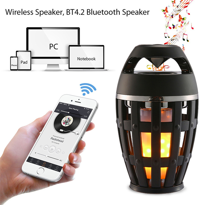 2018 New LED Dancing Flicker Flame Table Lamp Touch Bedside Night Light Outdoor/Indoor Portable Bluetooth Speaker Camping Lights