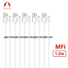 كابل MFi من snow kids لهاتف iPhone 5 6 7 8 X XR XsMax لشحن مزامنة البيانات من البرق إلى USB متوافق مع iOS12 مزامنة البيانات 5 قطعة