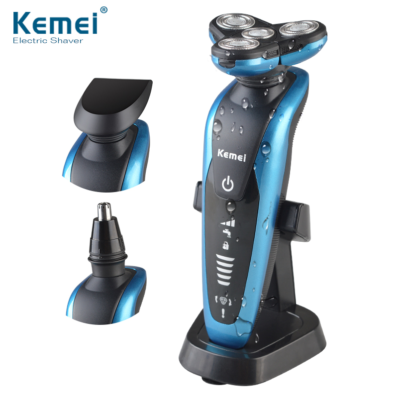 Kemei 3 in1 Washable Rechargeable Electric Shaver Triple Blade Electric Shaving Razors Men Face Care 3D