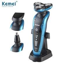 Kemei 3 in1 Моющийся Аккумуляторная Электробритва Triple Blade Электрический Бритья Бритвы Мужчины Уход За Кожей Лица 3D Плавающей