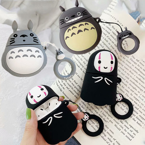 Image 1 - 3D Cute Kawaii Anime Cartoon Totoro Faceless Man Case for Airpods 1 2 No Face Man Wireless Earphone Cover with Finger Ring Strap