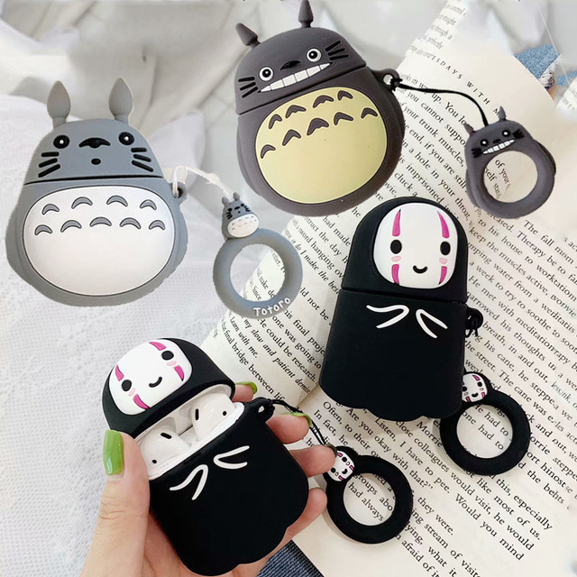 3D Cute Kawaii Anime Cartoon Totoro Faceless Man Case for Airpods 1 2 No Face Man Wireless Earphone Cover with Finger Ring Strap