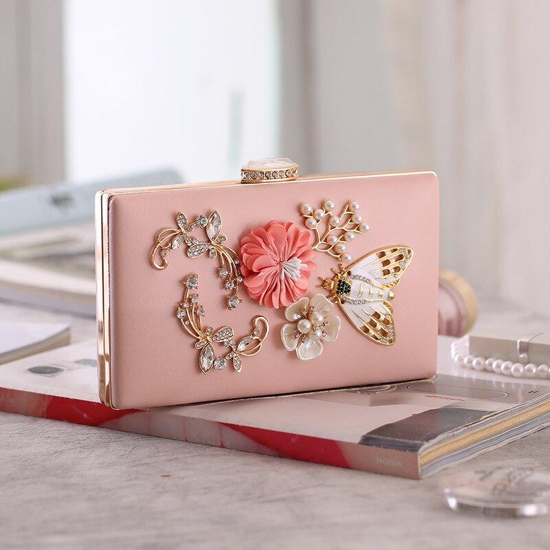 Elegante Frauen Kristall Perle Perlen 3D Blume Schmetterling Kleine Tag Kupplungen Zarte Kette Abend Taschen Chic Handtaschen und Geldbörsen