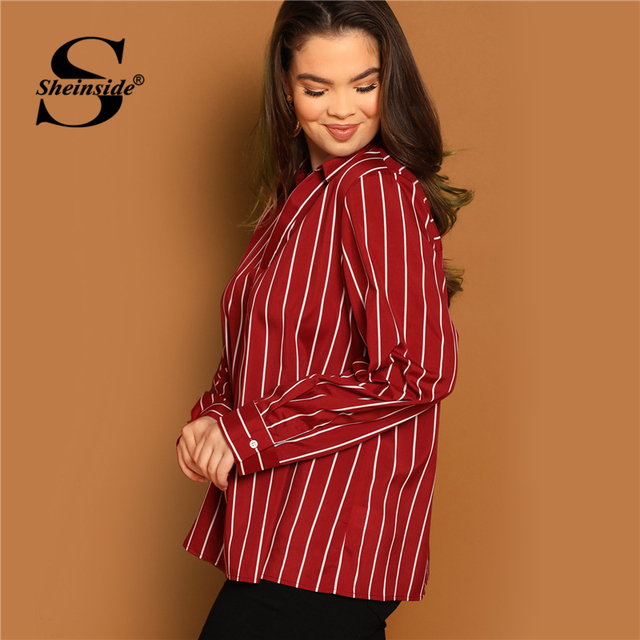 Sheinside Plus Size V Neck Striped Blouse Women Long Sleeve Top 2019 Spring Fashion Ladies Long Tops Burgundy Casual Blouses 2