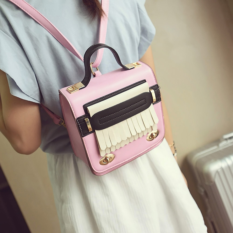 New Design Women Vintage Small PU Leather Travel Mini Backpack Panelled Tassels Student Backpack Fashion and