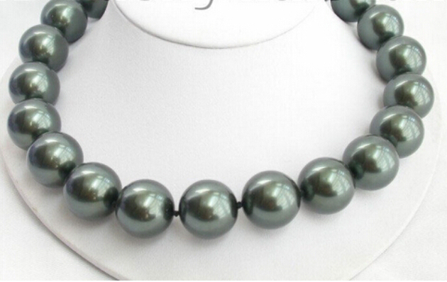20mm 100% Tahitian black south sea shell pearl necklace AAA style Fine Noble real Natural free shipping
