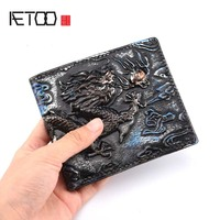 AETOO Original Handmade Leather Wallet Male Short Cowhide Vintage Embrodiry Dragon Wallets First Layer Of Vintage