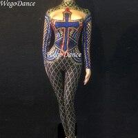 Новый женский сексуальный сценический Большой Стразы комбинезон Блестящий боди танцевальный костюм День рождения, празднование для пения,