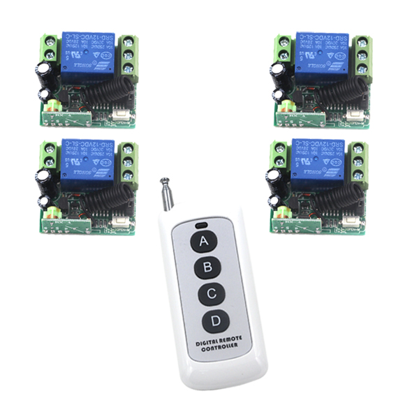 MITI-Free shipping DC12V 10A 315MHz Small Wireless Remote Control Switch 1 Transmitter with 4 Receiver SKU: 5341