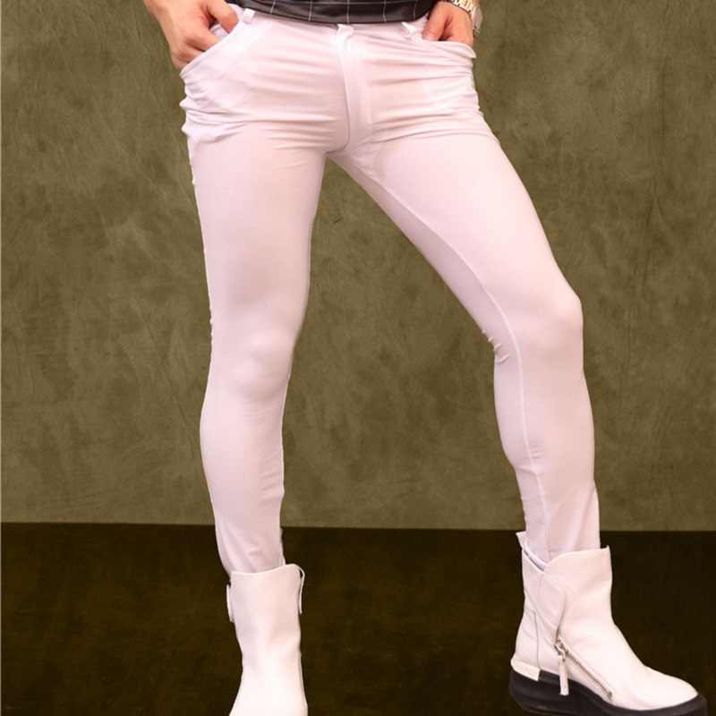 337ce43d72a57c Detail Feedback Questions about Men's Plus Size Lycra Elastic Pencil Pants  Hair Stylist Tight Leg Trousers Casual Soft Pants Nightclub Slim Boots Pants  Gay ...