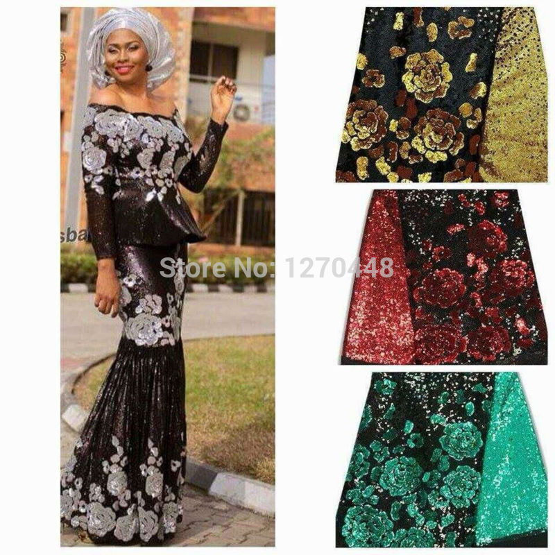 Black Silver Embroidery Material Net Fabric With Sequence Summer African French Sequins Lace For