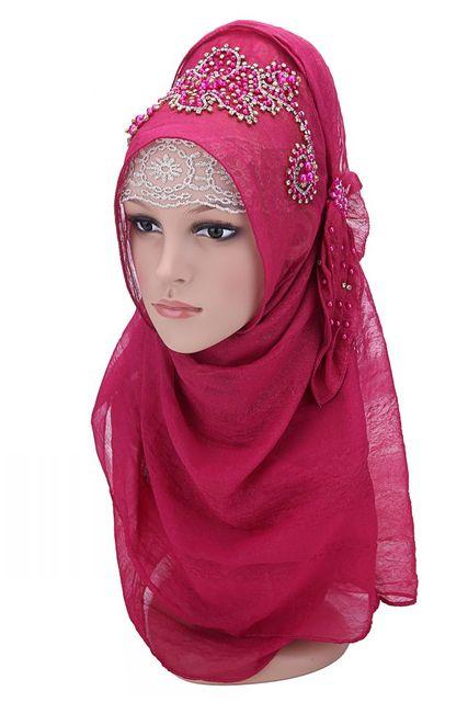 Diseño de moda de alta calidad de gasa bordado Turco abalorios estilo istamic velo hijab musulmán hijab para las mujeres 7 colores