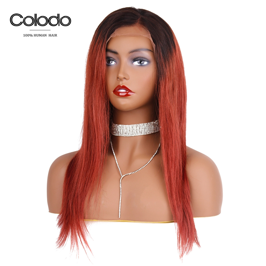 COLODO Ombre Straight Hair Wig Pre Plucked Hairline Brazilian Remy Hair Glueless Orange Red Lace Front