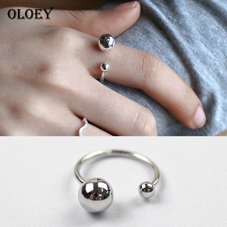 OLOEY 100% Real 925 Sterling Silver Rings For Women Adjustable Ball Shape Vintage Style Finger Ring For Girl 2018 New YMR067