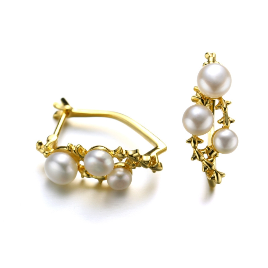 Original Freshwater Pearls Clip Earrings Three Stones 14K Gold Jewelry without Piercing Korean Earring Cuff for Women Girls