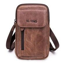 Бренд натуральная кожа Повседневная 5,5-7 'сотовый/мобильный телефон Удар Чехол поясная сумка ремень крюк сумка мужская сумка через плечо сумки-мессенджеры