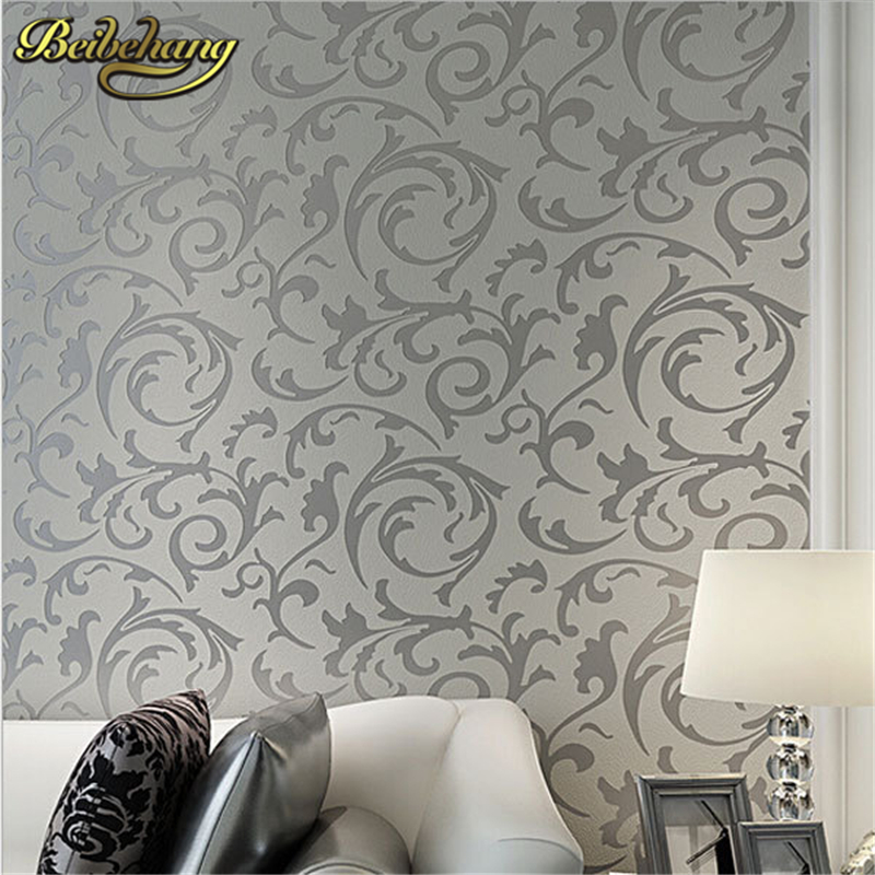 beibehang papel parede Papel Parede Leaves Mural Wallpaper Roll silver golden beige Non-woven wall paper 3D Stereoscopic Wall Pa beibehang non woven pink love printed wallpaper roll striped design wall paper for kid room girls minimalist home decoration