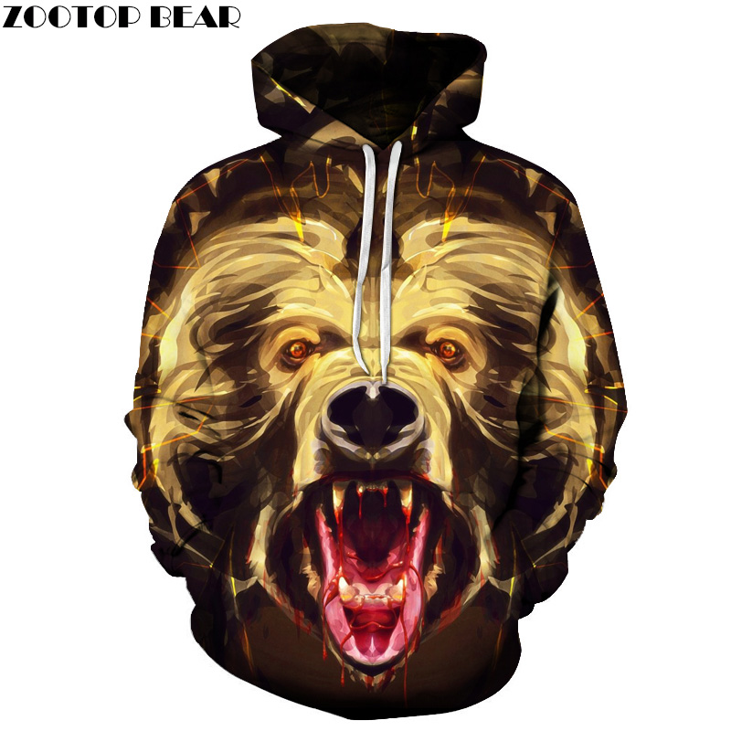 Angry Bear Printed 3D Hoodeis Men Women Brand Sweatshirts Hooded Pullover Autumn Winter Tracksuits Pockets Jackets Printed Coat