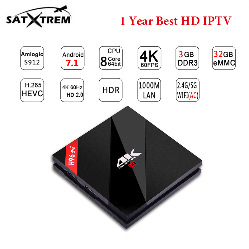 Android TV Box H96 RPO plus 3G 32G Amlogic S912 1000M LAN Box 1 Year Europe IPTV subscription Sweden French Belgium IT Germany tv box android m 6
