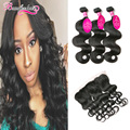 Malaysian Body Wave Hair With Frontal 3 Bundles With 4x13 Lace Frontal Closure Malaysian Virgin Hair With Frontal Human Hair