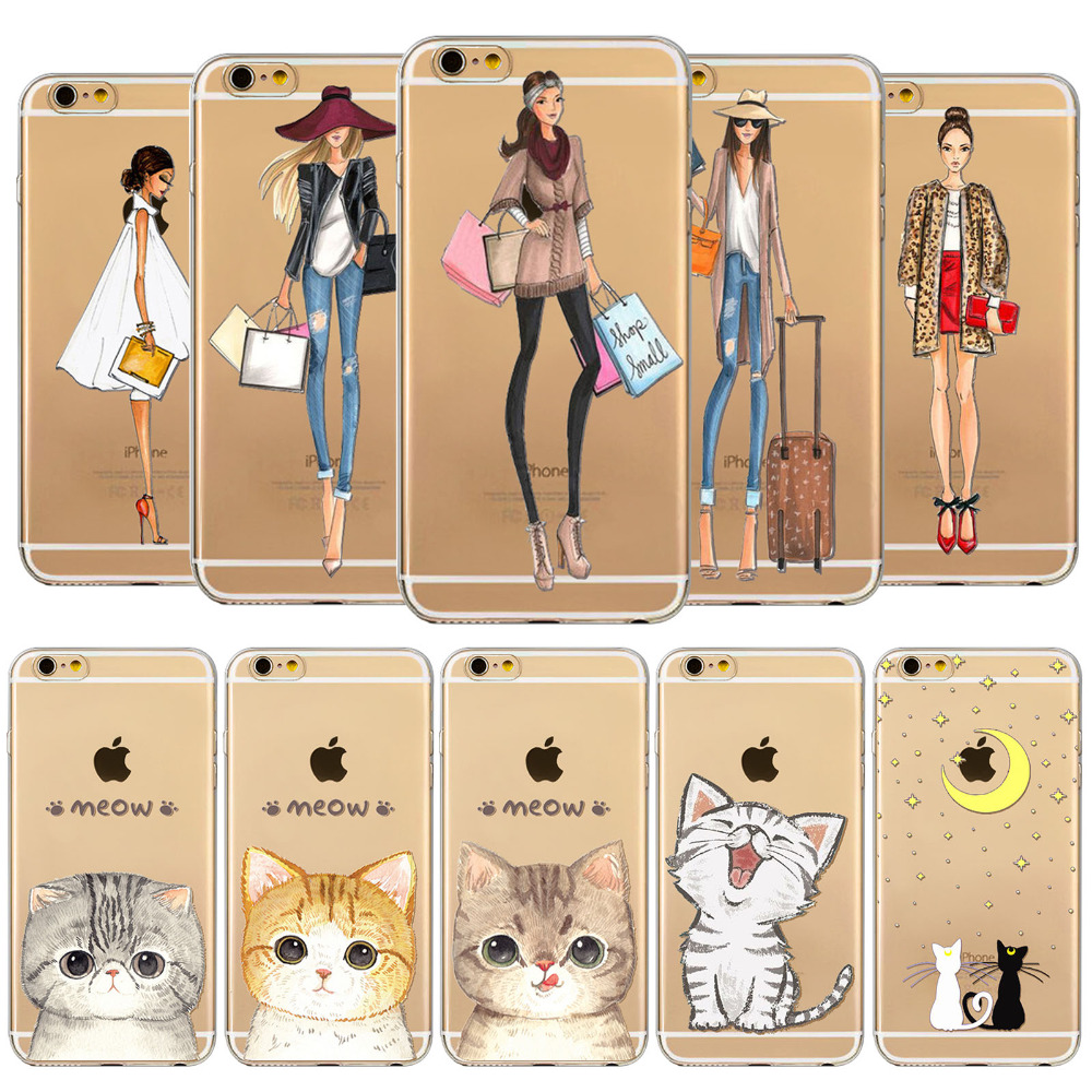 Girl Design and Funny Cats Phone Cases For iPhone 6 6s 5 5s SE 6Plus 6SPlus Soft TPU Clear Beautiful Girl Cats Case Covers Capa