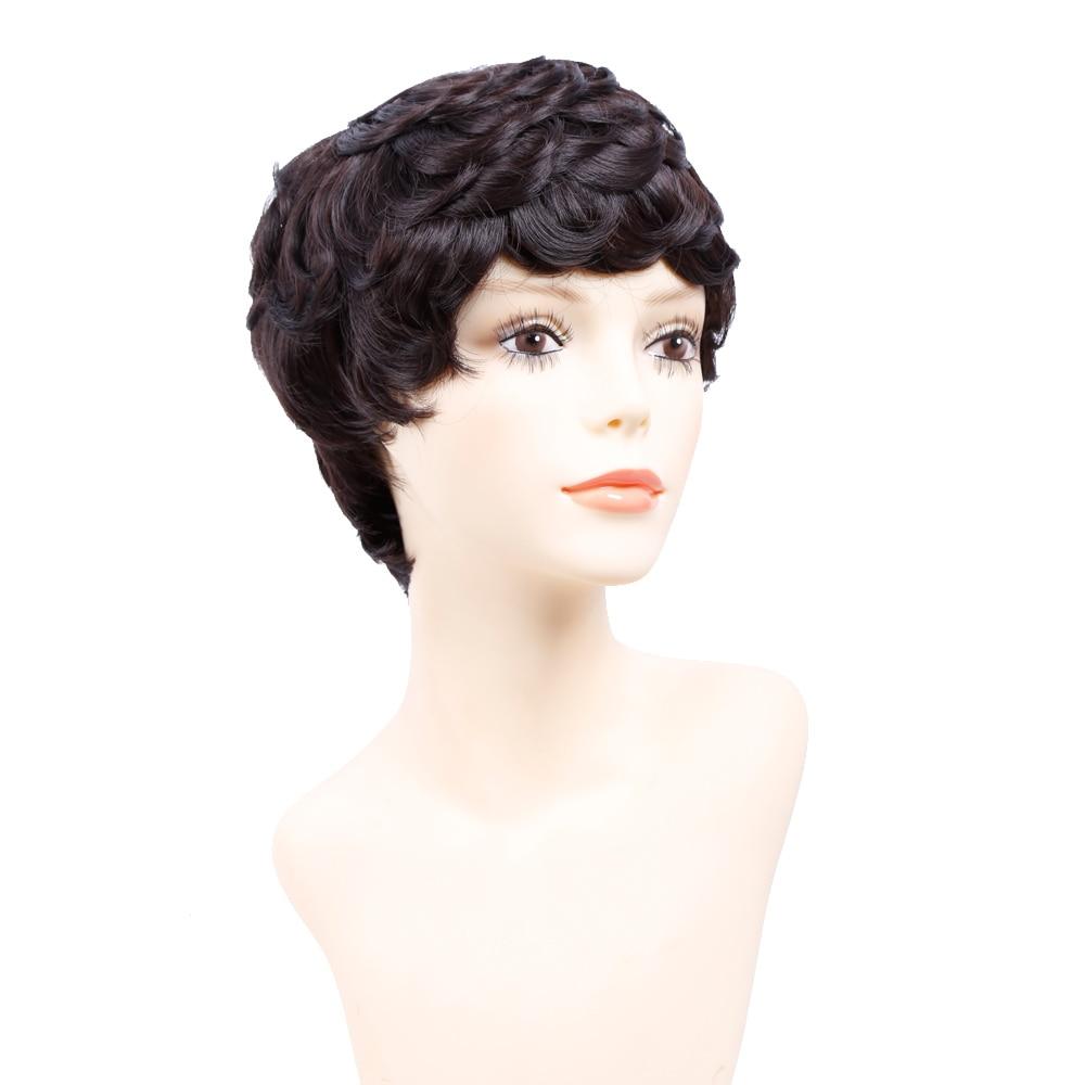 Amir Curto Perucas para As Mulheres Negras Curto Sintético Peruca Cosplay Perruque Curto Cordão Cabelo Encaracolado com pentes dentro