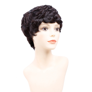 цена на Amir Short Wigs for Women Black Short Synthetic Wig Cosplay Perruque Short Curly Hair Drawstring with combs inside