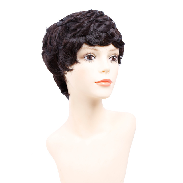 Amir Short Wigs for Women Black Short Synthetic Wig Cosplay Perruque Short  Curly Hair Drawstring with 1c06d5963