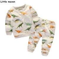 Little Maven Children S Sets 2017 New Autumn Boys Cotton Brand Long Sleeve Dinosaur Print T