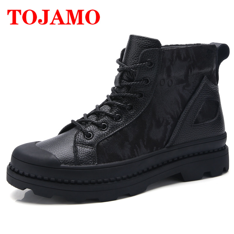 TOJAMO High Quality Safety Work Men Boots Winter Comfortable Leather Casual Shoes Male Botas Hombre Outdoor Army Boots For Men tojamo men army military boots high quality motorcycle boots winter desert hunt male combat boots man botas martin men shoes