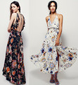 2017 mujeres sexy v-cuello backless largos vestidos maxi bohemio beach dress holiday dress flor de impresión sin mangas elegante dress