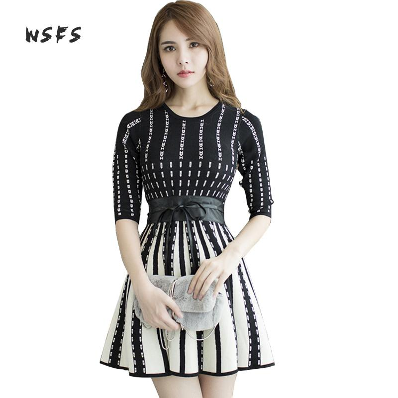 Wsfs Autumn Winter Sweater Dresses Women Black White Striped Knitted Sashes Oneck Bandage Dress Vintage Sexy Party Mini Dress