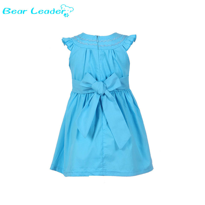 все цены на Bear Leader baby girls dress Casual sky blue Sleeveless Straight girls dress 2018 summer style kids clothes baby girls dress онлайн