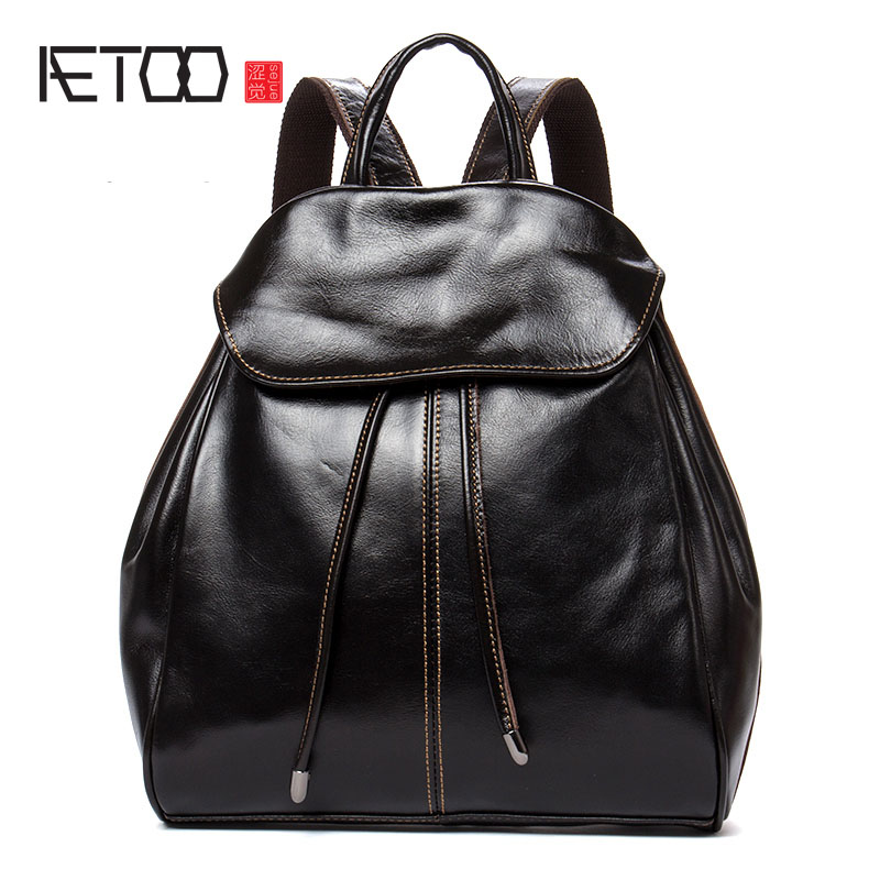 AETOO New oil wax leather shoulder bag head layer leather simple wild backpack small backpack female aetoo backpack female new retro shoulder bag hand large capacity leather bag simple wild