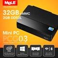 Безвентиляторный Intel четырехъядерных процессоров мини-пк с VGA меле PCG03 ультра HD 4 К HDMI 1.4 LAN WiFi Bluetooth 2 г оперативной памяти 32 г ROM официальный Windows 10