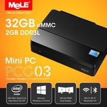 Fansız windows 10 mini pc masaüstü mele pcg03 2 gb ddr3 32 gb emmc intel bay trail atom z3735f hdmi vga lan usb wifi Bluetooth