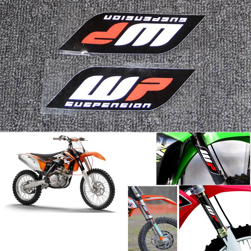 For WP Suspension Bike Forks Decals Stickers Graphic Set Logo Adhesive Kit 2 Pcs