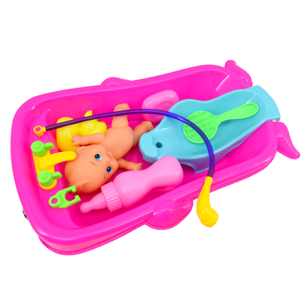 Set of Kid Baby Doll Care Role Pretend Play Game Baby Bath Water Bathtub Toy