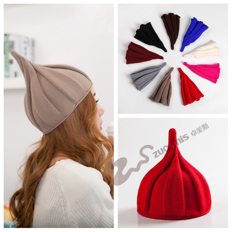 Winter   Beanie   Classic Tight Pointy Knitted Female Hat Fashion Colorful   Beanies   Women's lovely caps
