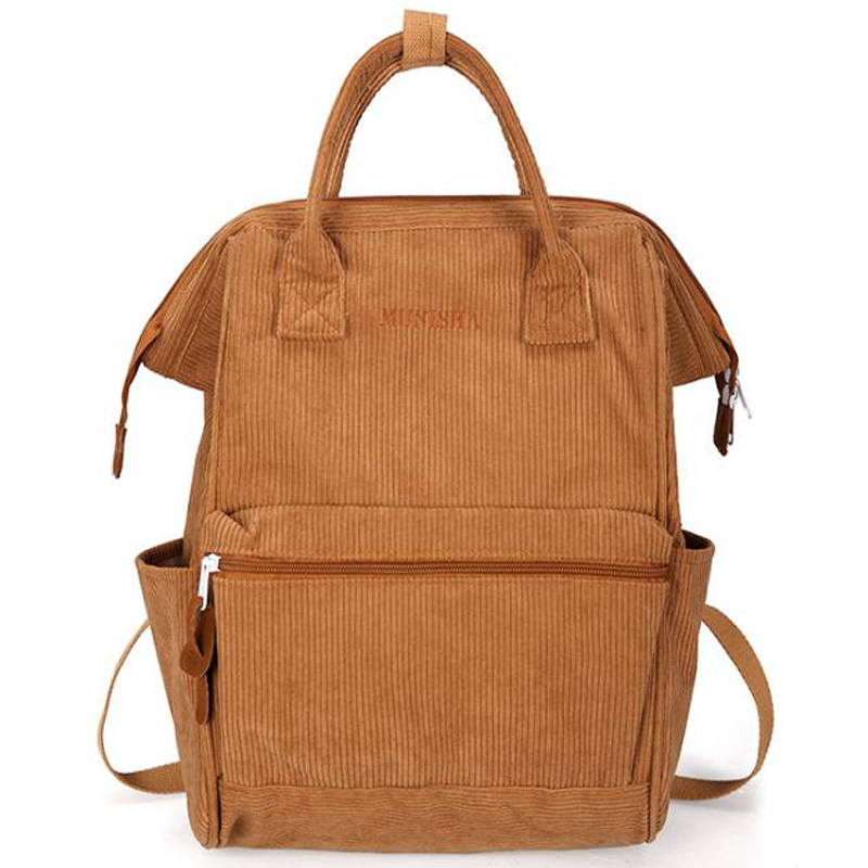 NEW-Corduroy Solid Color Backpack Sen Simple Simple Wild College Student Bag Leisure Travel Bag