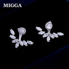 MIGGA Luxury Tear Cubic Zirconia Stud Earrings for Women Party CZ Crystals Back Double Usage Brincos